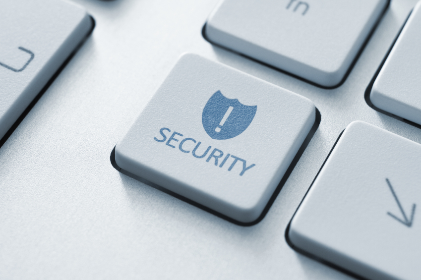 Security button on the keyboard. Toned Image.