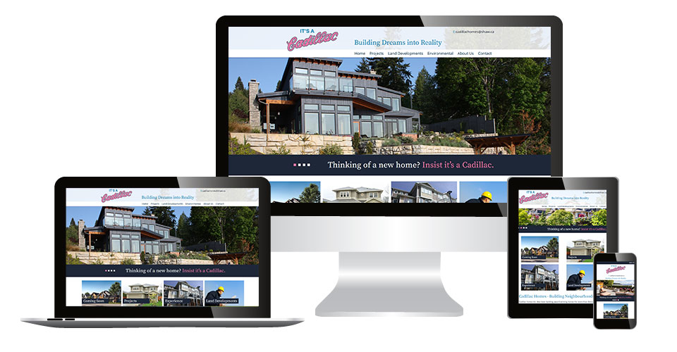 Cadillac Homes home page displaying on multiple devices
