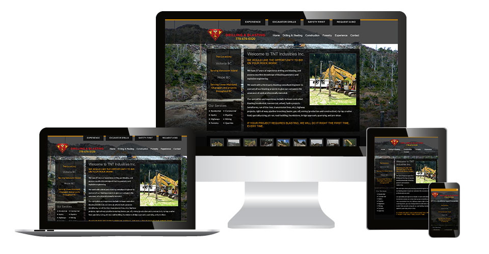 TNT Industries Inc. home page displaying on multiple devices