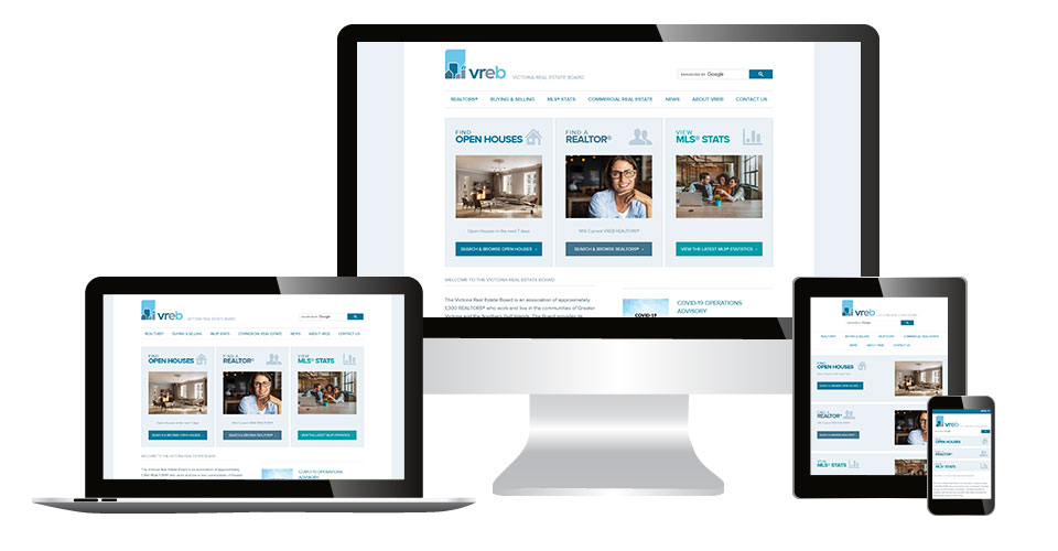 Victoria Real Estate Board home page displaying on multiple devices